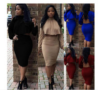 Wholesale Women Two Piece Outfits Sexy Black Piece Set Winter Bandage Dress Cloak Backless NightClub Bodycon Party Dresses