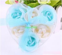Wholesale High Quality Mix Colors Heart Shaped Rose Soap Flower For Romantic Bath Soap And Gift one box hand made natural material