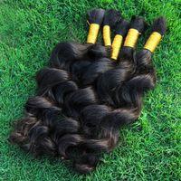 Wholesale A Human Bulk Hair Extensions Unprocessed Indian Loose Curly Weave Bulk For Micro Braids Cheap Loose Wave Hair Bulks Dye DIY