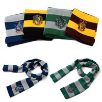Wholesale Unisex Cotton Patchwork Magic House Harry Potter Knitted Stripe Scarf Cosplay Warm Costume Scarves Wraps