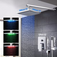bath panel led lights - 10 Years Warranty LED Changing Rainfall Waterfall Bath Shower Panel Wall Mounted Shower Set With Hand Shower Set Faucets