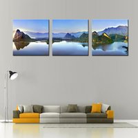 arts hubs - LK3128 Panels Mountain Lake Landscape Wall Art Modern Pictures Print On Canvas Paintings For Bedroom Sitting Room Bar Hub Kitchen Fashio