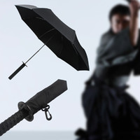 Wholesale Three folding Samurai Umbrella Japanese Ninja Dagger Collapsible Sword Katana Manually Foldable Sun Rain Creative Three Folding Parasol