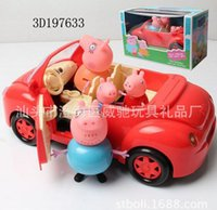 Wholesale With a small basket of children s play toy doll ornaments pig cartoon pig young girl with red car