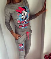 animal ski pants - New Autumn S XL Plus Size Cartoon Mickey Printed Tracksuits Women Long Sleeve Tops Full Pants Female Casual Suit Two Pieces Set