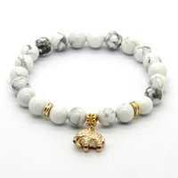 achat en gros de bracelet éléphant gros-10ps / lot gros 8mm Blanc Howlite Pierre Cadeau réel plaqué or Elephant Lucky Charm Bracelets Party
