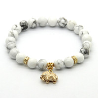 american elephants - ps mm White Howlite Stone Real Gold Plated Elephant Charm Lucky Bracelets Party Gift
