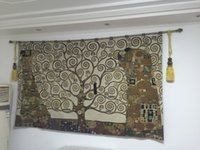 Wholesale Stoclet Frieze Tree of Life Gustav Klimt Fine Art Tapestry Wall Hanging Home Decor Gift Cotton Jacquard Woven x cm