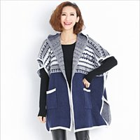 Wholesale 2016 Autumn And Winter Fashion Large Size Women s Cardigan Sweater Loose Hooded Bat Sweater Y09
