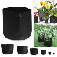 Wholesale 2016 New Arrival Types Black Fabric Pots Plant Vegetable Pouch Round Aeration Pot Container Grow Bag Pots Breathable Bag