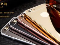 aluminum mirrors - For Iphone Plus Aluminum Alloy Bumper Frame Mirror Bling Ultrathin Metallic Hard Case Iphone s SE S S Hybrid Chromed Slim Cover