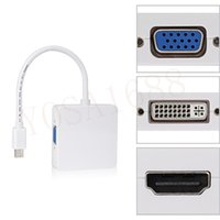 Wholesale 3 In Mini Display Port DP Thunderbolt to DVI VGA HDMI Adapter Cable for Macbook