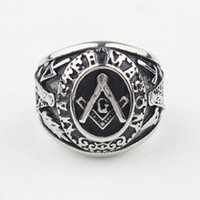 masonic - Freemason Men s Silver Ring Free Mason Stainless Steel Master Mason Masonic Ring