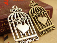 antique birdcage - A1343 MM Antique Bronze Retro bird cage charm pendant handmade DIY jewelry accessories heart birdcage charm New