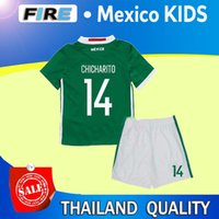 baby football kits - 2016 Mexico Kids Soccer Jerseys Children youth boys Uniform blue Mexico Kids sets G Dos Santos Baby CHICHARITO kids kit football shirt