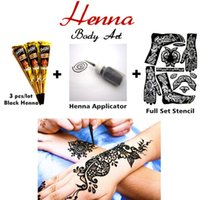 Wholesale 2016 Mehndi Henna Body Art Set Tattoo Paste Cones Henna Applicator Stencil Sexy Temporary Tatoo Wedding Adult Sex Products