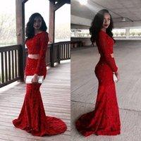 achat en gros de filles robe sequin rouge-2016 Red Mermaid Robes de bal Black Girls Deux pièces sombres Sheer Manches longues Appliques Dentelle Perles Sequin Soirée formelle Robes Custom Made mz