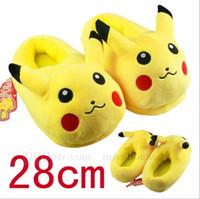 anime medium - Poke Pikachu Plush Slippers Poke Ball Stuffed Indoor Slipper Anime Stuffed Household Slippers Pocket Monster Room Shoes Dolls Toys B785