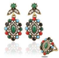 Precio de Pendientes de turquesa juego de anillos-2016 boda joyería fina de la vendimia del anillo de la turquesa de Colorfull del estilo de Bohemia y Austria pendiente cristalino 2Pcs sistemas de la joyería para las mujeres
