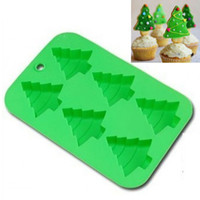 Wholesale 6 Capcity Christmas Tree Silicone Mold Chocolate Cake Cookie Soap Tree Mould DIY Xmas Cake Decoration Random Colors