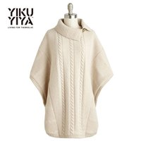 Wholesale YIKUYIYA Autumn New Fashion Women Solid White Single Button Casual Loose Sweater Batwing Sleeve Navy Collar Warm Sweater