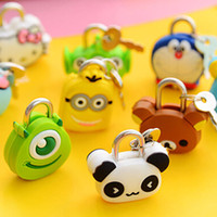 Wholesale 5 pieces Cute Cartoon Doll Animal Mini Silicone Metal Padlock Anti thief Security Lock with Key For Lage Drawer Free Shopping