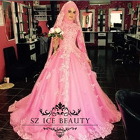 Wholesale Middle East Muslim Wedding Dresses Long Sleeves Lace Appliques Puffy Ball Gown High Neck Hot Pink Bridal Dress For Women