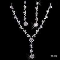 Wholesale 2015 Hot Sale Holy White Rhinestone Crystal Flower Earring Necklace Set Bridal Party Silver plated In Stock