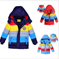 Wholesale new Winter baby boys Coats Outwear Children Winter Warm Striped color Down Warm Jacket Baby Boys girls Fashion warm clothes