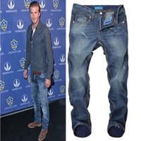 ads designer - AD Brand Casual Business Mens Jeans Fashion Vintage Designer Blue Printed Jeans For Men Ripped Jeans High Quality Bike Jeans Men