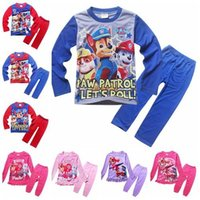 baby snow clothing - 2016 Kids pajamas clothes new Cotton Cartoon Long Sleeve Pants Homewear Suit paw patrol snow slide Children Baby Boys Girls Clothing