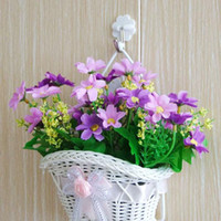 beautiful hanging baskets - beautiful White Woven artificial flower hanging baskets on door wall graden for wedding festival party home decoration