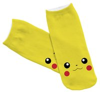 big animal slippers - New poke printing socks cotton invisible socks Pikachu socks for women and big children style