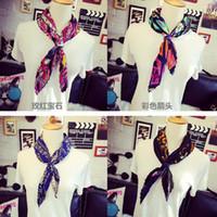 Scarf Fashion Geometric Vintage lady Silk Square Scarf cravat Women Fold Printing scarves Headband Wrap Bandana 70X70cm party festive gift Fashion Accessories