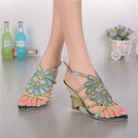 beach sandles - Blue Crystals Low Heel Women Sandal Wedge Heels Women Shoes Beach Womens Sandles Ladies Wedge Sandals Rhinestones Flip Flop Sandals