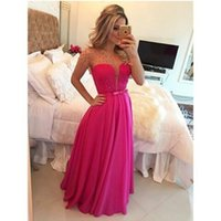 Wholesale 2016 Long Chiffon Prom Dress with Short Sleeve Sash Peplum Jewel Neckline Floor Length Maxi Bridesmaid Dress Cheap In Stock
