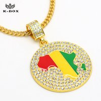 africa continent necklace - 3 Design k Gold Plated Iced Out Mens Africa Continent Map Pendant Charm Hip Hop Cuban Chain Bling Necklace K Box Jewelry