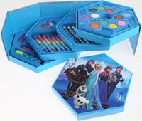 Wholesale Frozen Color pen Anna Elsa stationary set Crayon Colored pencil Color pen Watercolor painting pieces set forChristmas Kids Gift JF