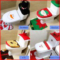 bathroom brown rug sets - Hot Set pc Happy Santa Milu deer Snowman The elves Toilet Seat Cover Rug Bathroom Set Decoration Rug Christmas Decoration