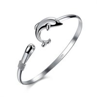 Wholesale 925 jewelry silver plated bangle bracelet silver fashionSingle line Dolphin Bracelet Classic Animal Silver Bracelet
