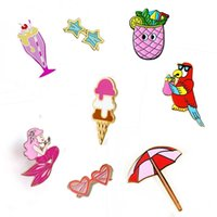 asian drink - Europe United States Parrot Birds Summer Drink Mermaid Sun Umbrella Ice Cream Metal Brooch Pins Button Pins