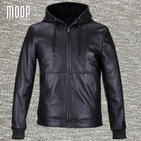 Wholesale Fall Black genuine leather jackets and coats men lambskin hooded motorcycle jacket coat veste cuir homme patch pockets LT559