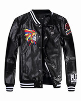 Wholesale Top quality Tide Brand Fashion Desinger Faux Leather Punk jacket brand PF37 Print Skulls PU Leather Sporty Style Men Casual Jacket M XL