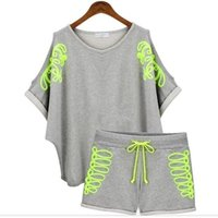 Wholesale New products new fashion strapless piece fitted ladies Sport Suit casual loose short sleeved sweater suit female sports set New2016