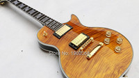 Wholesale R9 Vos ebony ls custom double Tiger Flame Maple top deluxe LP Electric Guitar golden hardware