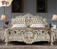 Wholesale Baroque classic bedroom furniture Luxury royalty bed Italian solid wood bed