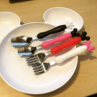Wholesale Cartoon Dinnerware Set INS Mickey Minnie Mouse Kids Fork Spoon Stainless Steel Creative Easy Carry Tableware Dining Tea Time Children