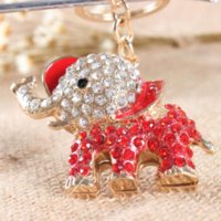 anniversary keychain - Lovely Elephant Red Crystal Charm Purse Handbag Car Key Keyring Keychain Party Wedding Birthday Gift gifts golden wedding anniversary