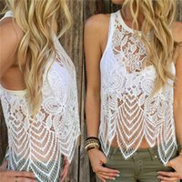 Wholesale New Arrivals Women s Lady s Sexy Vest Camisoles Tank Tops Lace Crochet See Through Sleeveless Fashion ED435