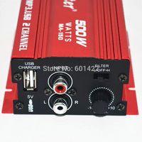 Wholesale Hot Sale car audio amplifier W Channel Mini Hi Fi Stereo Audio Amplifier Amp Car Motorcycle Amplificador Red